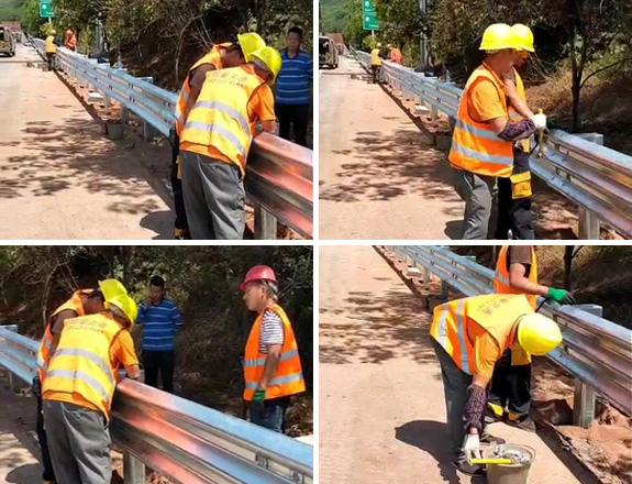 渝黔高速三波护栏施工安装